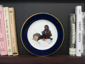 Installation view of Ward Shelly and Douglas Paulson's 'The Last Library,' with plate by Carol K. Brown at Pierogi Gallery, April 2016.