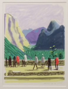 """David Hockney, """"Untitled No. 15"""" from """"The Yosemite Suite,"""" iPad drawing printed on paper, 37 x 28,"""" 2010."""