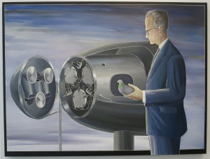 Anton van Dalen, B.F. Skinner with Project Pigeon, oil on canvas, 48 x 64 inches, 1986.