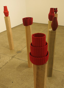Tonico Lemmos Auad, Unruly Architecture/Red, linen, cotton, wool, wood and bronze, dimensions variable, 2016.