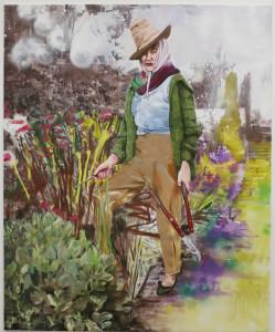 Paulina Olowska, The Gardener after Valerie Finnis, oil and acrylic on canvas, 86 5/8 x 70 7/8, 2016.