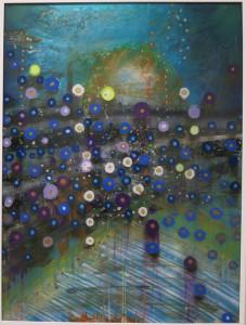 Giacinto Occhionero, Dodgers Blue, spray paint on plexiglass, 40 3/16 x 30 ¼ inches, 2016.