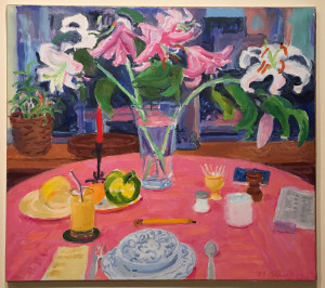 Nell Blaine, White Lilies, Pink Cloth, oil on canvas, 24 x 27 inches, 1990.